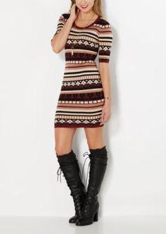Burgundy Folk Striped Sweater Dress | Mini Dresses | rue21