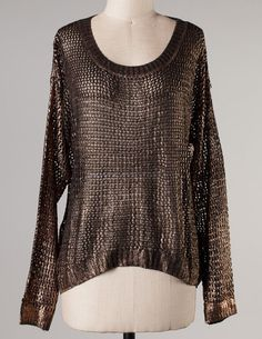8.5.13 WOMEN'S OFFER. METALLIC FISH NET SWEATER. CLAIM HERE FOR $38 WITH FREE SHIPPING