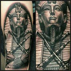 Tutankahmun tattoo - Naughty Needles Tattoos God Tattoos, Body Art Tattoos, Tattoos For Guys, Male Tattoo, Egyptian Tattoo Sleeve, Leg Sleeve Tattoo, Armor Tattoo, Egyptian Pharaohs, Ancient Egyptian Art