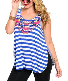Another great find on #zulily! Royal Blue Stripe Floral Tank - Plus #zulilyfinds
