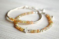Fire Opal - Opal Welo Bracelet & Herkimer Diamond 925 Sterling Silver   |  Willow Sisterhood