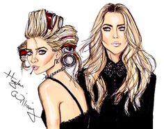 #Hayden Williams Fashion Illustrations: #Ashley & Mary-Kate by Hayden Williams