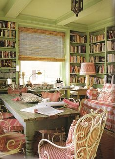 This library overlooking the East River in New York became a place of inspiration for Denise Dummont, a Brazilian native, who added a flair of Rio de Janeiro to this room.  Photo by Jennifer Levy.