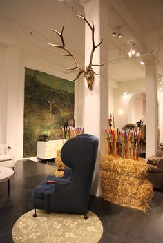 Stunning image of the BDDW showroom in NYC featuring a hand painted antique mural dating to the 1920's from 20th Century by HKFA.
