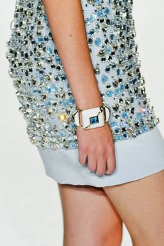 Accessories Spring 2013 Trends - chunky bracelet (or watch?) & bedazzled dress
