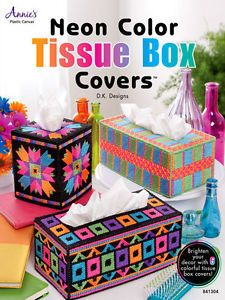 Plastic Canvas Beginner Easy Patterns Neon Color Tissue Box Covers Boutique Regu