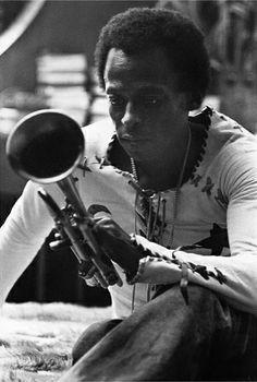 Miles Davis w/ Trumpet : GQ 1970 : Fine Art Print
