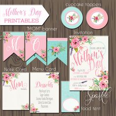 Mother's day Printables, Mother's Day Card, Mother's Day party, Mother's Day Banner by justalittlesparkle on Etsy https://www.etsy.com/listing/228665577/mothers-day-printables-mothers-day-card
