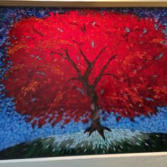 Stained glass mosaic red fall tree courtesy of Kickin' Glass Kansas