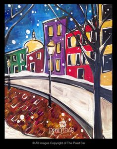 Funky Snowy Beacon Hill Painting - Jackie Schon, The Paint Bar