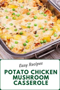 This delicious Potato Chicken Mushroom Casserole is the ideal casserole dinner. Layered with potatoes, chicken, and mushrooms in a creamy sauce topped with a lot of cheese, this casserole is a family favorite. Potato Mushroom Recipe, Recipe With Cream Of Mushroom, Chicken Mushroom Casserole, Cream Of Mushroom Chicken, Potatoe Casserole Recipes, Easy Potato Recipes, Chicken Recipes, Top Recipes, Yummy Recipes