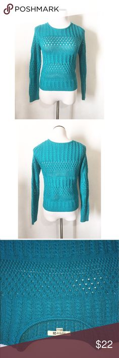 F21 open knit blue sweater Size medium!! super cute and excellent condition! Forever 21 Sweaters Crew & Scoop Necks