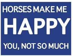 Horses make me happy... this sums it all up!