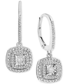) Tremendous sparkle radiates from these stunning round-shape diamond halo drop earrings exquisitely fashioned in luxurious sterling silver. Diamond Drop Earrings, Silver Drop Earrings, Round Earrings, Halo Diamond, Diamond Jewelry, Diamond Clarity, Pendant Earrings, Silver Jewelry Box, Fine Jewelry