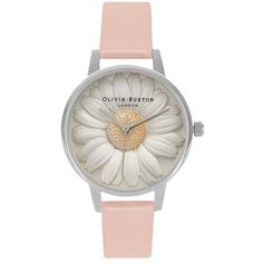 Olivia Burton Flower Show 3d Daisy Watch - Dusty Pink & Silver ($180) ❤ liked on Polyvore featuring jewelry, watches, daisy jewelry, silver watches, blossom jewelry, silver wrist watch and flower jewelry