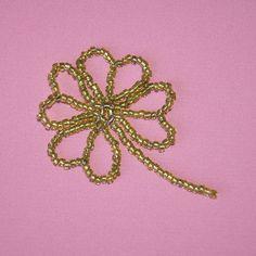 Handmade bead shamrock ornament 2''  shamrock