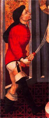 Hombre desnudo: en jubón y «calzas». El jubón está abotonado y forrado de algodón, con collar y ribetes de diferente tela al resto de la prenda. H. 1400-20, La flagelación de Cristo, Luis Borrassa, Museo de Goya, Zaragoza (detalle)