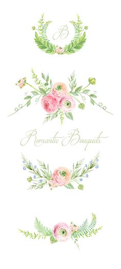 Ranunculus Bouquets Flowers Hand Drawn Clip Art Watercolor