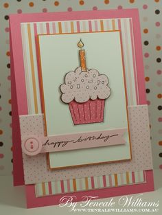 "Stampin Up ""Crazy for Cupcakes."" This is a stamped design, but the cupcake could be drawn and cut out, and glued onto layers of scrapbook paper to achieve a similar effect. Girl Birthday Cards, Handmade Birthday Cards, Greeting Cards Handmade, Birthday Greetings, Birthday Wishes, Karten Diy, Card Sketches, Cool Cards, Kids Cards"