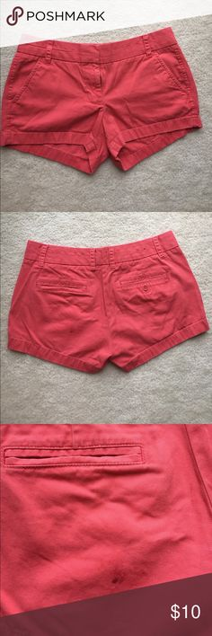 J. Crew Chino Shorts Gently used J. crew chino shorts in a salmon color! There is a small stain on the left back of the shorts. Bought from the original J. Crew store. J. Crew Shorts