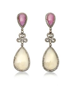 White Sapphire & Ruby Embellished Drop Earrings by Amrapali