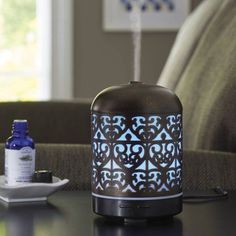 Better Homes and Gardens Essential Oil Diffuser, Moroccan Scroll, Black