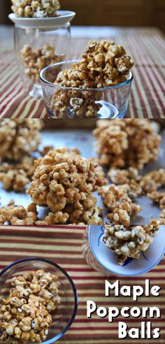 Maple popcorn balls - a perfect Halloween treat! Vegan Popcorn, Candy Popcorn, Popcorn Balls, Microwave Popcorn, Halloween Popcorn, Halloween Treats, Halloween Stuff, Heath Candy, Healthy Dark Chocolate