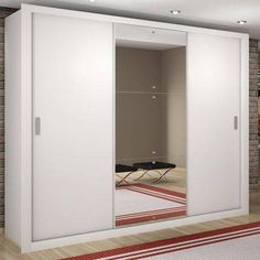 Double Wardrobe with Mirror 3 Sliding Doors Berlin Luxury Rufato White - cabinets - Wardrobe Design Bedroom, Bedroom Furniture Design, Closet Bedroom, Home Decor Furniture, Almirah Designs, Home Entrance Decor, Bedroom Cabinets, Room Ideas Bedroom, Closet Designs