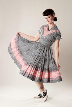 Vintage 1950s Cotton Squaw Dress Floral Two Piece by AlexSandras