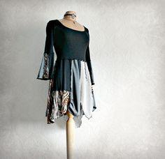 Black Boho Top Upcycled Clothing Gypsy by BrokenGhostClothing,