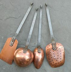 Antique French Copper Utensil Set I Do have a hand forged copper ladle.had it for YEARS. Copper Work, Copper And Brass, Antique Copper, Or Antique, Copper Utensils, Copper Canisters, Bronze Kitchen, Copper Decor, Blacksmith Projects