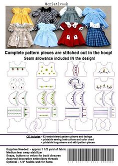 """18 """"doll clothes - suitable for American Girl . In The Hoop Embroidery . 18 """"doll clothes – suitable for American Girl …. # …… In The Hoop Embroidery ……. Girl Doll Clothes, Barbie Clothes, Girl Dolls, Ag Dolls, Blythe Dolls, Barbie Doll, Diy Clothes, Doll Dress Patterns, Clothing Patterns"""