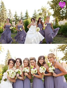 Dusky lavender bridesmaids dresses are a pretty choice for a 'shades of purple' themed wedding.