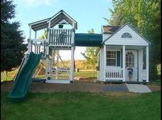 Awesome customized playhouse made out of maintenance free vinyl. I WANT, WANT, WANT! #outdoorplayhouseideas #kidsplayhouseplans #playhousebuildingplans #kidsoutdoorplayhouse