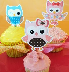 Free Printable Party Invitations: Free Owl Cupcake Toppers Template-these are adorable! Must print out! Party Printables, Free Printable Party Invitations, Owl Invitations, Party Invitations Kids, Printable Templates, Free Printables, Templates Free, Shower Invitations, Invitation Cards