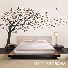 Tree mural for hallway?  Elegant Style Blowing Leaves Tree Decal for Baby Nursery or Home