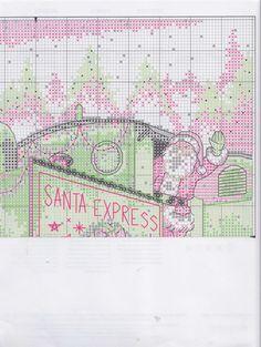 Gallery.ru :  58savinkina Santa Cross Stitch, Cross Stitch Boards, Cross Stitching, Cross Stitch Embroidery, Cross Stitch Patterns, Christmas Scenes, Christmas Cross, Santa Express, Plastic Canvas Christmas