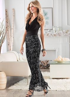 elegant date night dress for when you actually get dressed up and find that one or two nice restaurants on the island where you are staying. Deep open back halter, lace maxi skirt by VENUS