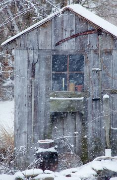 shed & old cream can in winter by Robert L. Clark, via Robert Escoto