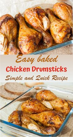 If you are looking for a delicious quick dinner these Easy Baked Chicken Drumsticks are for you! Ive been making these Chicken Drumsticks for hundreds of times and they never disappoint. We love this recipe and Im sure you will love it too. Baked Chicken Drumsticks, Easy Baked Chicken, Recipes With Chicken Drumsticks, How To Cook Drumsticks, Spanish Fried Chicken Recipe, Chicken Drummies Recipes, Cooking Drumsticks, Gastronomia, Dining