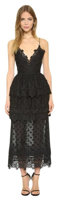 Self-portrait Black 'ivy' Lace Trim Dress. Free shipping and guaranteed authenticity on Self-portrait Black 'ivy' Lace Trim Dress at Tradesy. thats a gorgeous black dress you can wear with san...