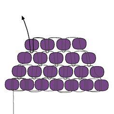 Puntada ladrillo básico - Disminuir | Técnicas | rebordear bolas de fusión