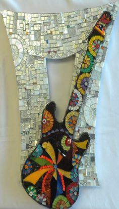 Austin Guitar mosaic frame by Line Dauvergne of Caen, France