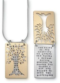 Sterling Silver and Brass Inspirational Prayer Necklace - Tree of Serenity