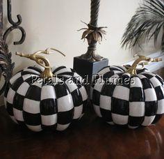 Black & White Check Pumpkins Hand painted-Petals & Plumes  https://www.facebook.com/petalsnplumes
