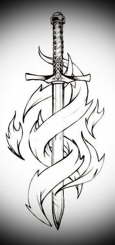 Sword and flames – Schwert und Flammen # 1 – Dark Art Drawings, Art Drawings Sketches Simple, Pencil Art Drawings, Tattoo Sketches, Easy Drawings, Tattoo Drawings, Drawing Ideas, Sword Drawings, Sword Art