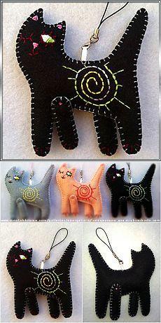 "Suspension bracket charm from felt. \""Cat Piece of coal\"" (art. 000148)"