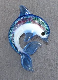 Dolphin Glass Pendant  Created by Tom Heath by sanctuaryglass, $15.00