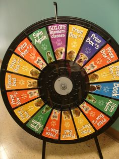 Everything's falling into place for this weekend's 24-hour adopt-a-thon... Here's a sneak peek at the prize wheel! For more details on the @ASPCA Mega Matchathon. (http://PrizeWheel.com/products/tabletop-prize-wheels/tabletop-black-clicker-prize-wheel-18-slot/)