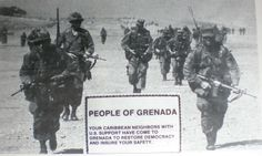 A leaflet air dropped over Grenada by US forces.